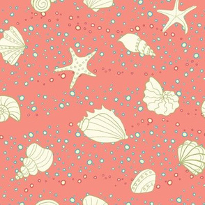ditsy seashells - coral