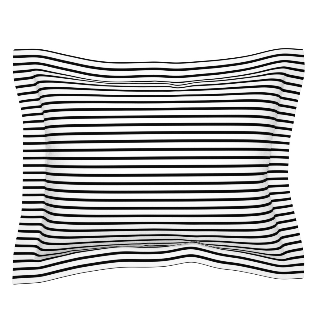 Sebright Pillow Sham featuring Thin Stripes 1/2 inch width Black on White Horizontal  by sierra_gallagher
