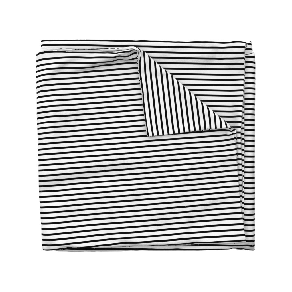 Wyandotte Duvet Cover featuring Thin Stripes 1/2 inch width Black on White Horizontal  by sierra_gallagher