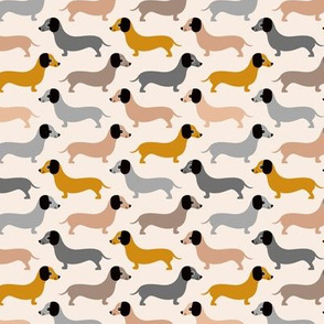 Vintage doxie sausage dogs dachshund illustration pattern gender neutral ochre gray