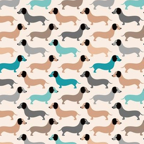 Vintage doxie sausage dogs dachshund illustration pattern gender neutral blue beige