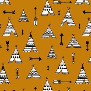 Trendy teepee and indian summer arrow illustration geometric aztec print in ochre