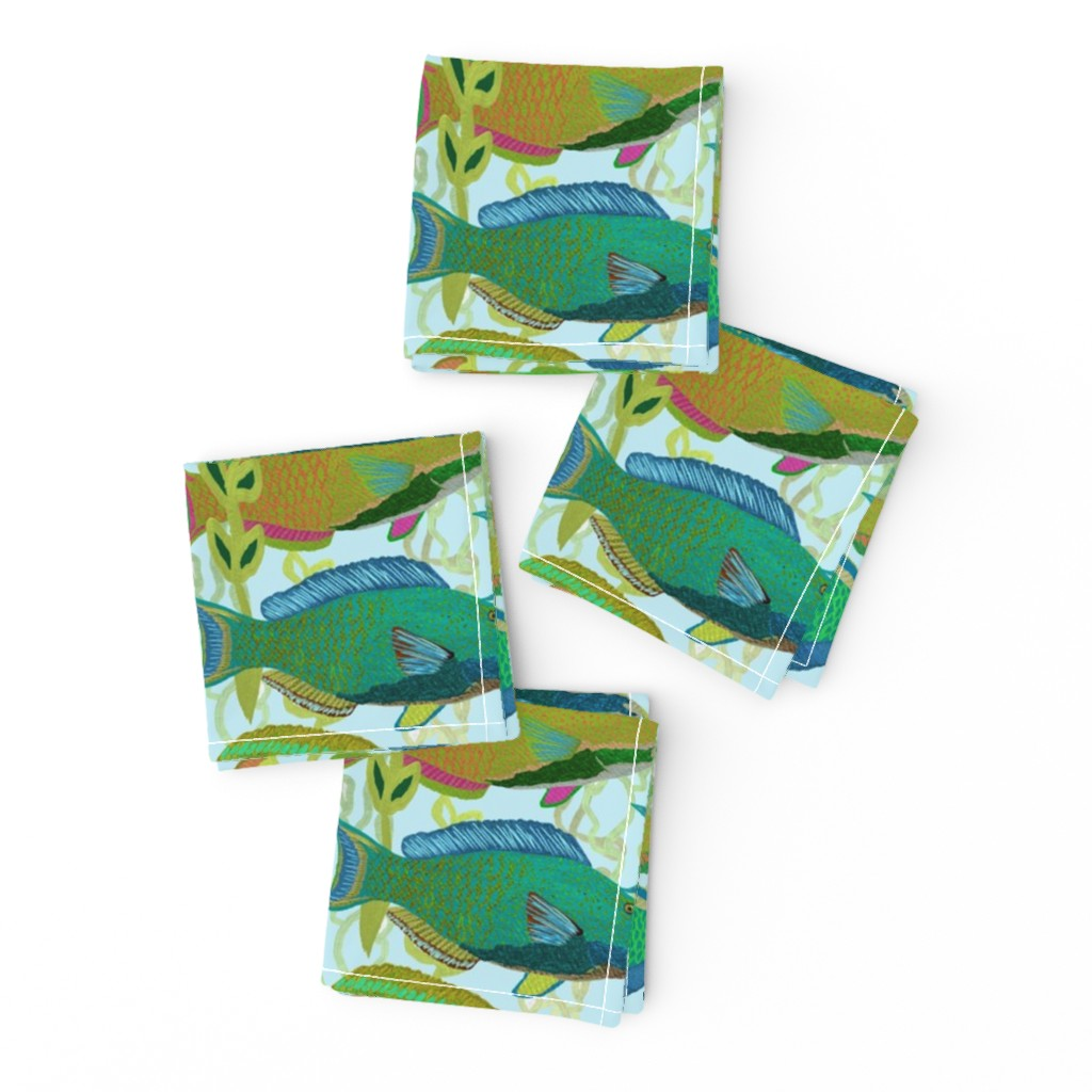 Frizzle Cocktail Napkins featuring Seascape with parrotfish by Su_G_©SuSchaefer by su_g