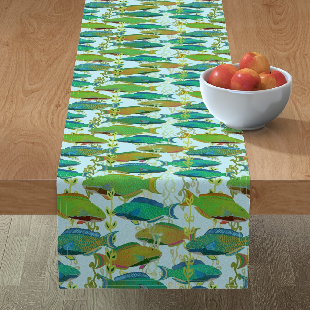 Minorca Table Runner featuring Seascape with parrotfish by Su_G_©SuSchaefer by su_g