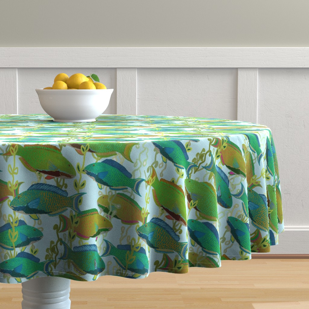Malay Round Tablecloth featuring Seascape with parrotfish by Su_G_©SuSchaefer by su_g