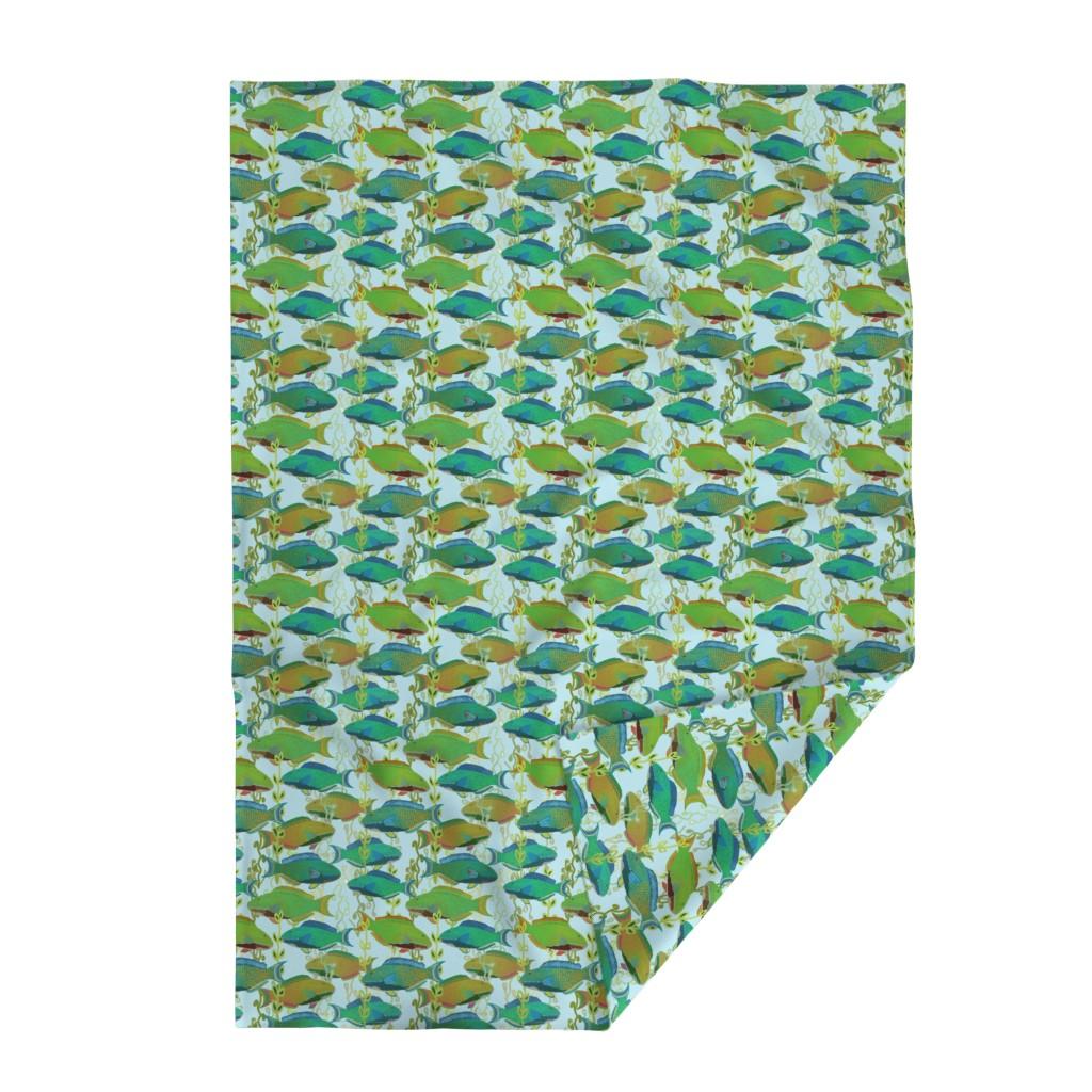 Lakenvelder Throw Blanket featuring Seascape with parrotfish by Su_G_©SuSchaefer by su_g
