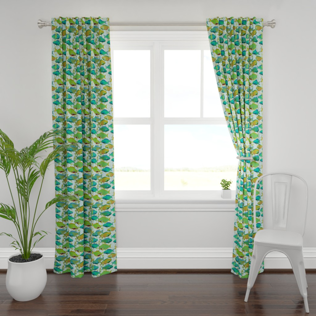 Plymouth Curtain Panel featuring Seascape with parrotfish by Su_G_©SuSchaefer by su_g