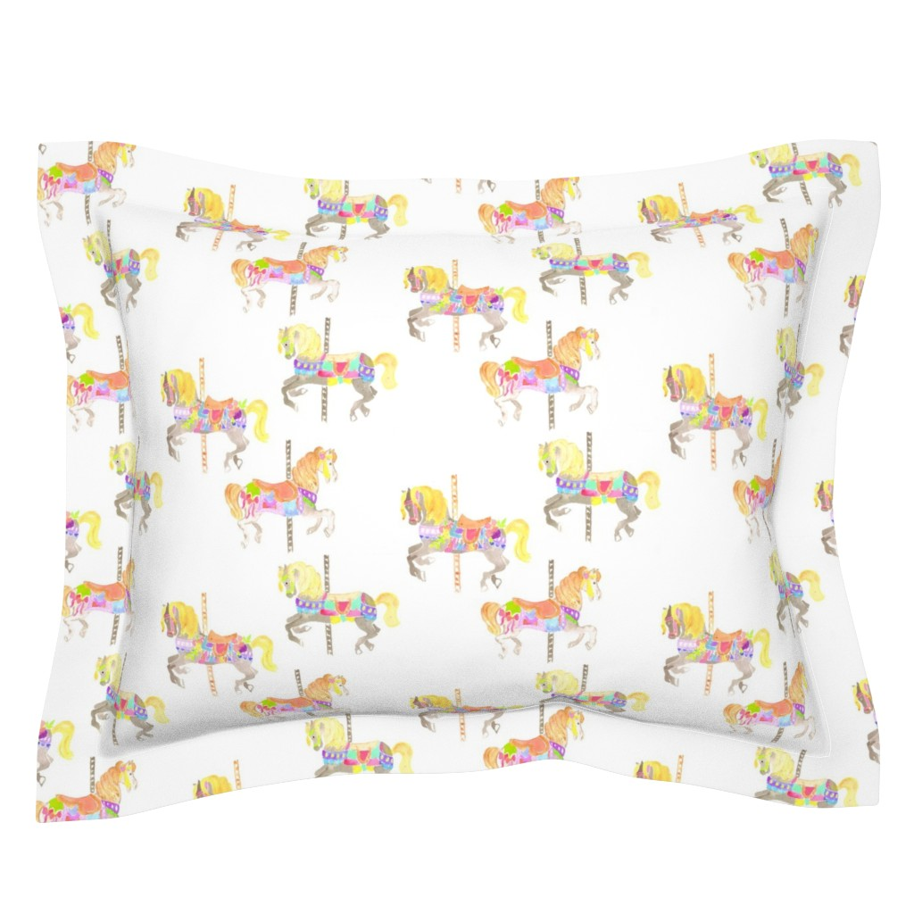 Sebright Pillow Sham featuring carousel horses by erinanne