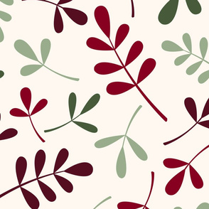 Assorted Leaves Ptn Greens Reds Cream