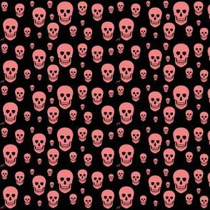 Pink skull on a black background.