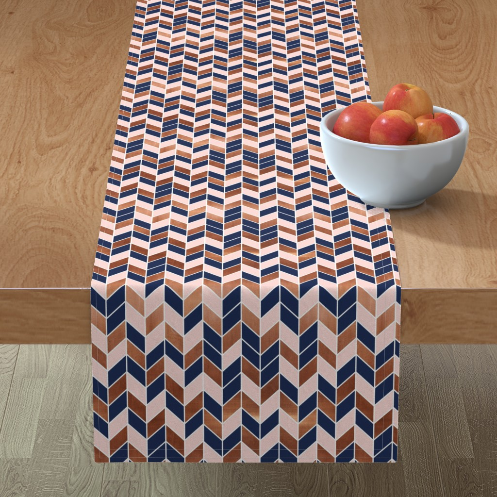 Chevrons Rose Gold Pink Navy Blue On Minorca By