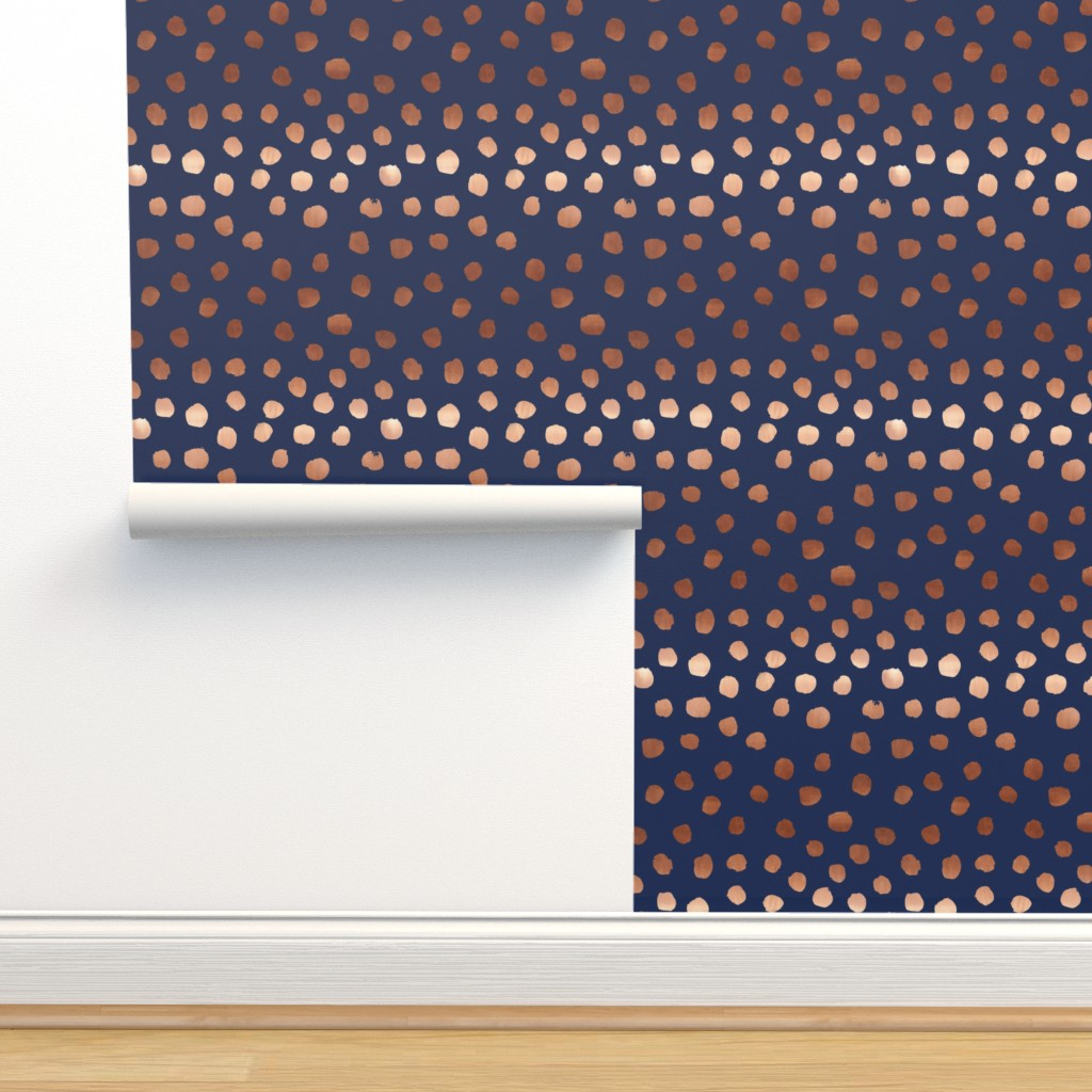 Rose Gold Navy Fabric Dots Painted On Isobar By