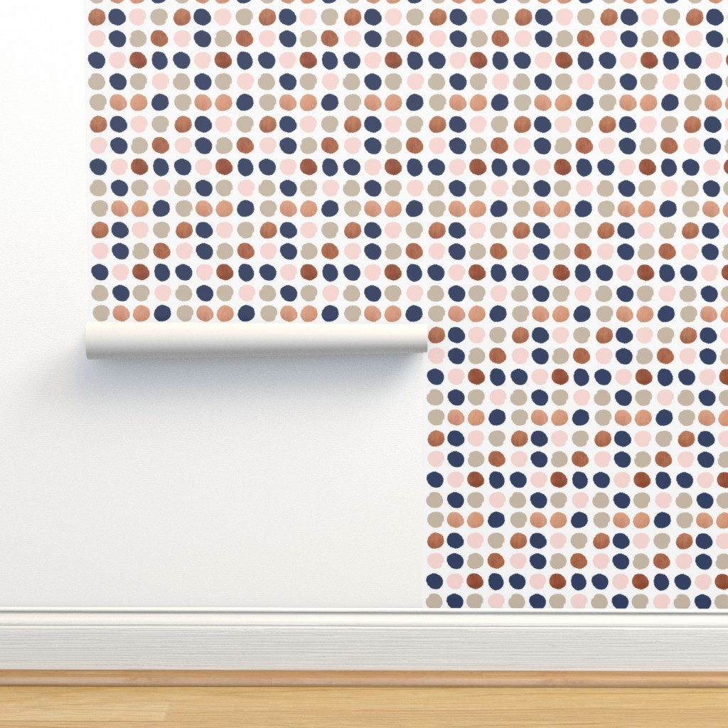 Dots Rose Gold Navy Blue Taupe On Isobar By Charlottewinter