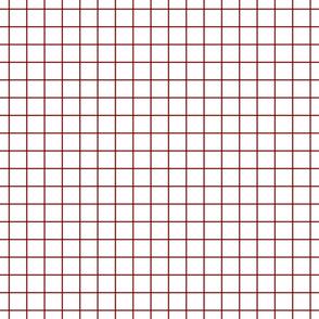 """dark red windowpane grid 1"""" square check graph paper"""
