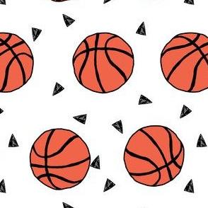 basketball fabric // sports basketball themed fabric - white