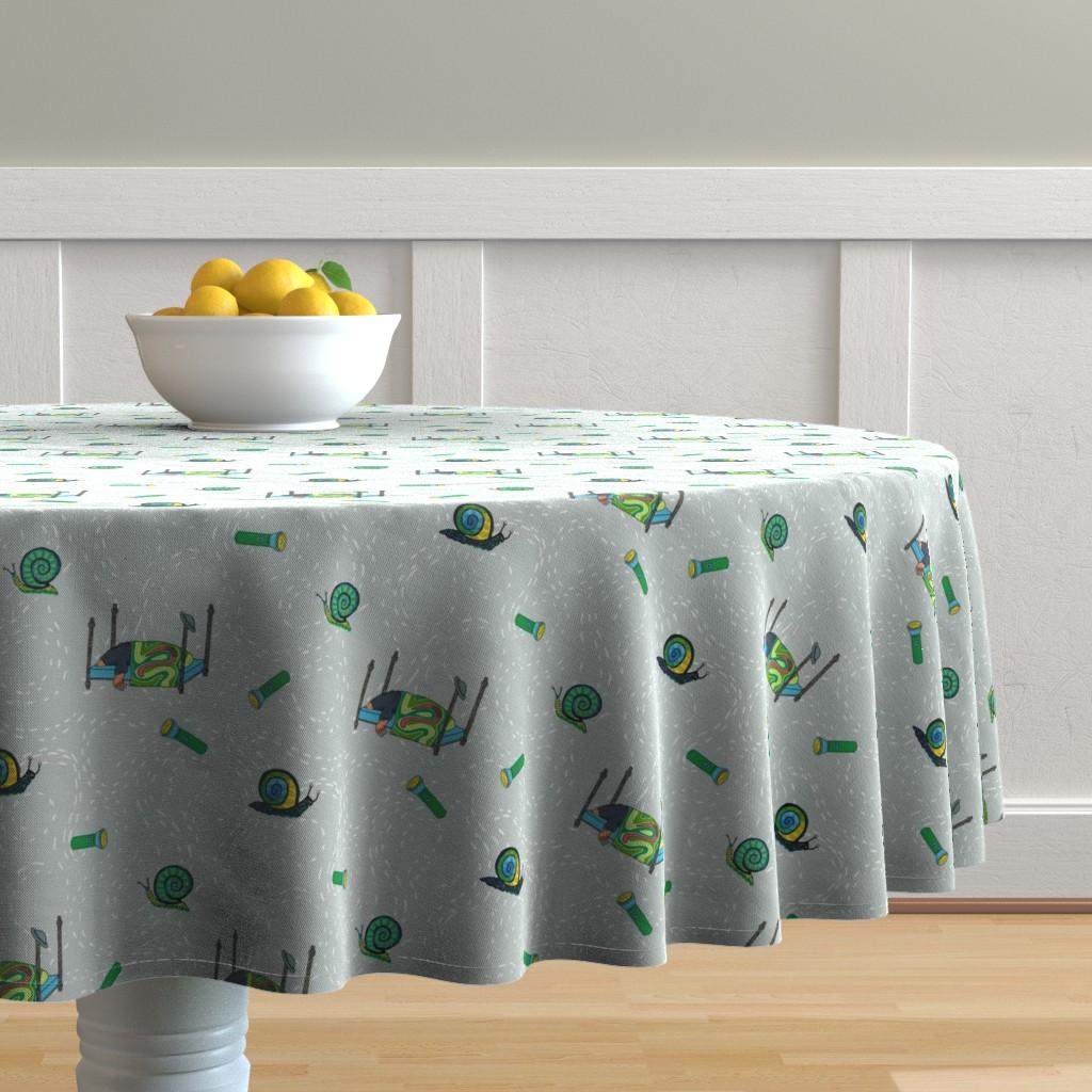 Malay Round Tablecloth featuring dream mole_ main print grey by kheckart