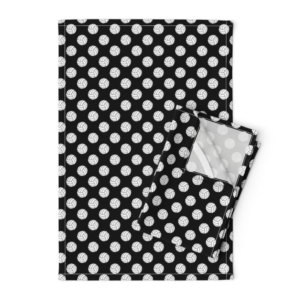 Orpington Tea Towels featuring One Inch Black and White Volleyballs on Black by mtothefifthpower