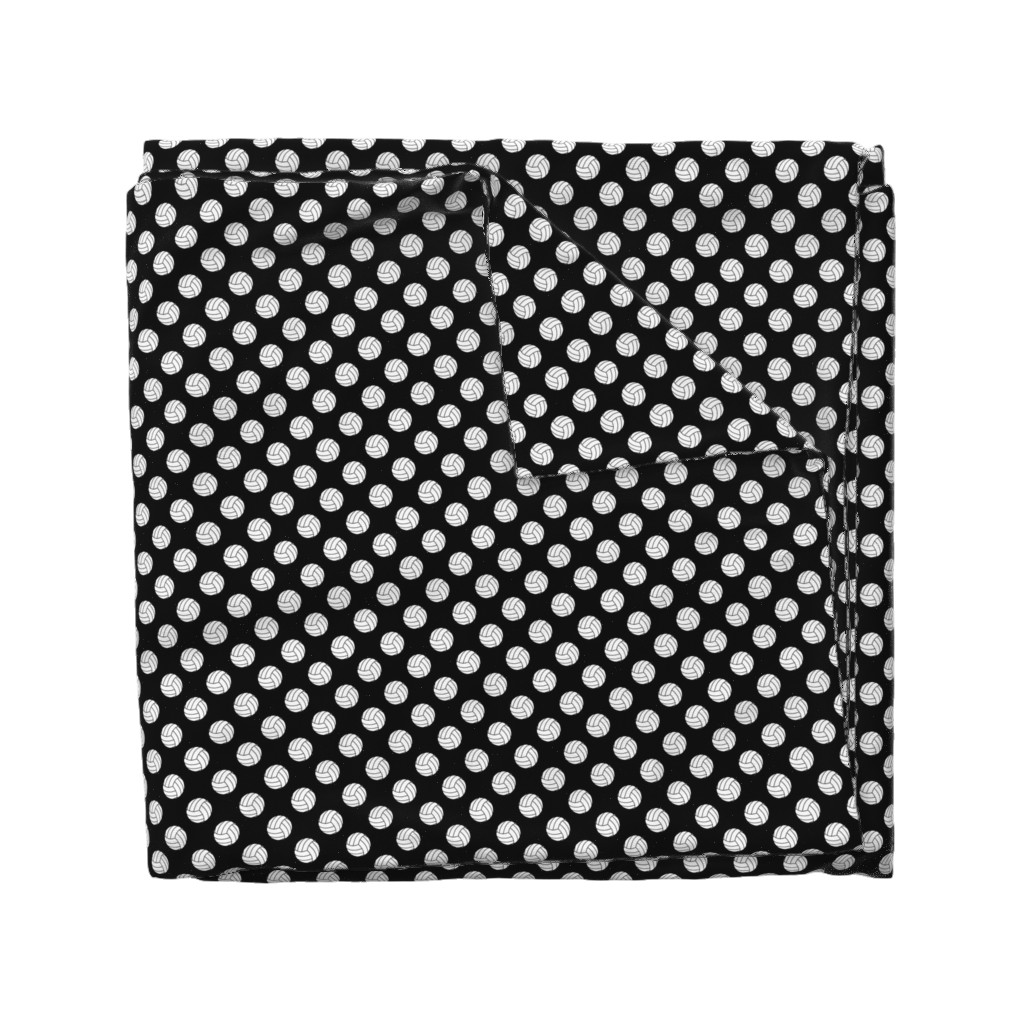Wyandotte Duvet Cover featuring One Inch Black and White Volleyballs on Black by mtothefifthpower