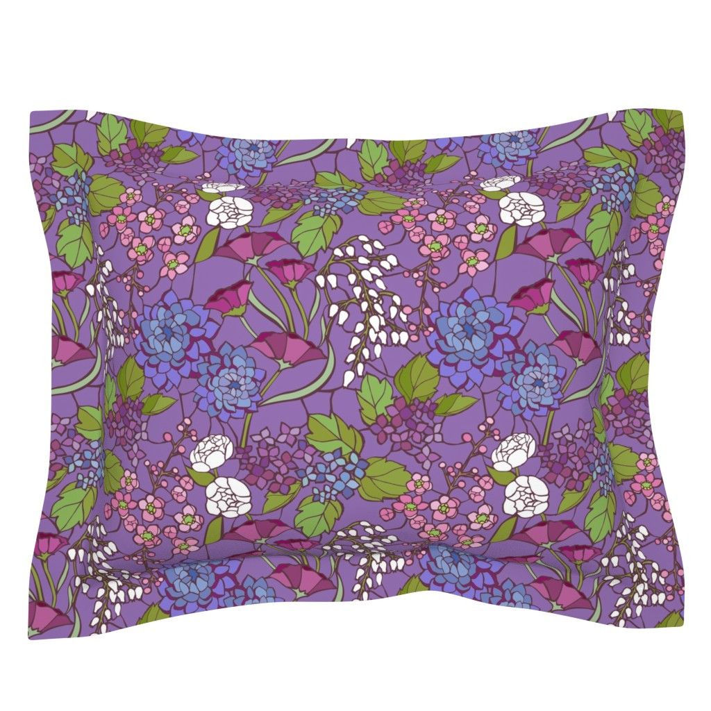 Sebright Pillow Sham featuring Mosaic Garden - Lilac by ceciliamok