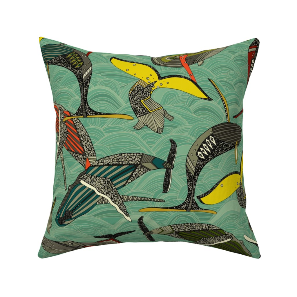 Catalan Throw Pillow featuring whales and waves jade by scrummy