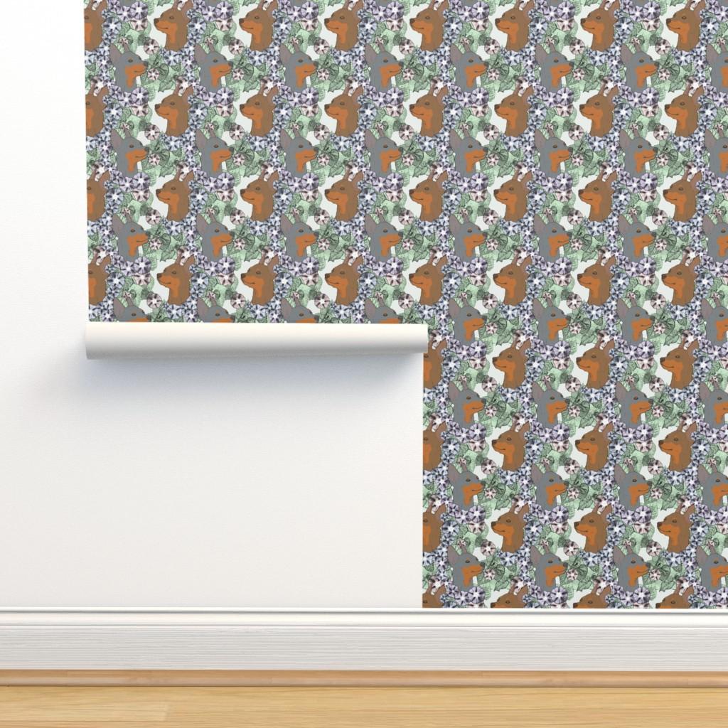 Isobar Durable Wallpaper featuring Floral Miniature Pinscher portraits C by rusticcorgi
