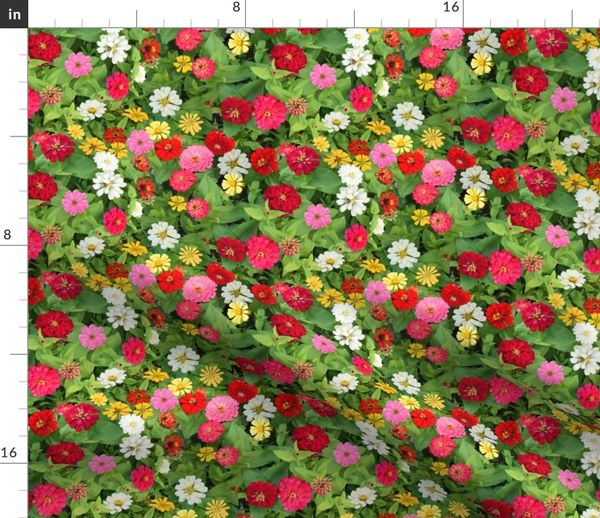 Fabric by the Yard Zinnia Bed on petunia garden bed, sunflower garden bed, zinnia mix flower bed, sweet pea garden bed,