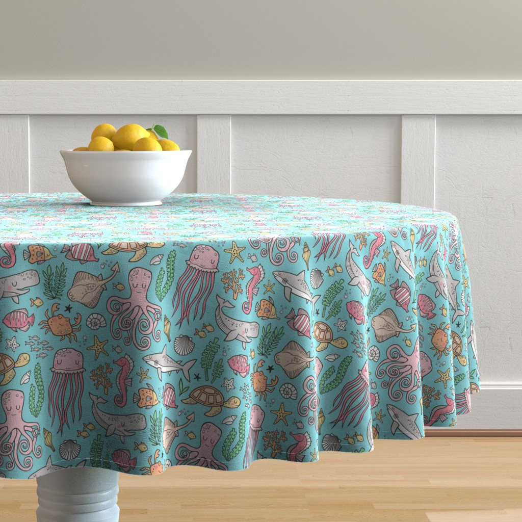 Malay Round Tablecloth featuring Ocean Marine Sea Life Doodle with Shark, Whale, Octopus, Yellyfish, Seaturtle on Blue by caja_design