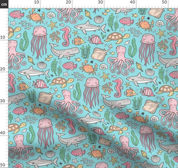Ocean Marine Sea Life Doodle With Shark Spoonflower
