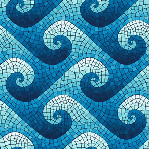 wave mosaic - navy, blue, cyan, aqua, white