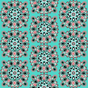 Coral teal Mandala