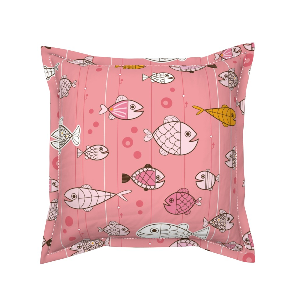 Serama Throw Pillow featuring Retro Fishin' by cynthiafrenette