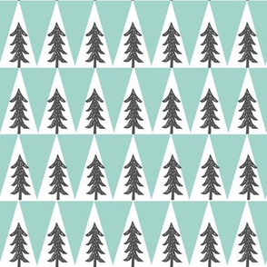 forest trees fabric // trees outdoors camping cabin fir tree fabric - mint and grey