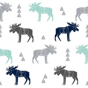 moose fabric // moose nursery baby fabric - mint, navy, charcoal
