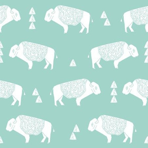 buffalo fabric // nursery baby cabin outdoors fabric print andrea lauren design - mint