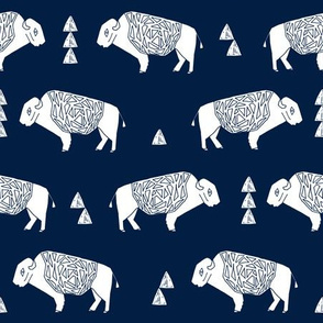 buffalo fabric // nursery baby cabin outdoors fabric print andrea lauren design - navy