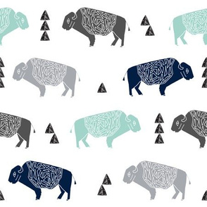 buffalo fabric // nursery baby cabin outdoors fabric print andrea lauren design - navy mint