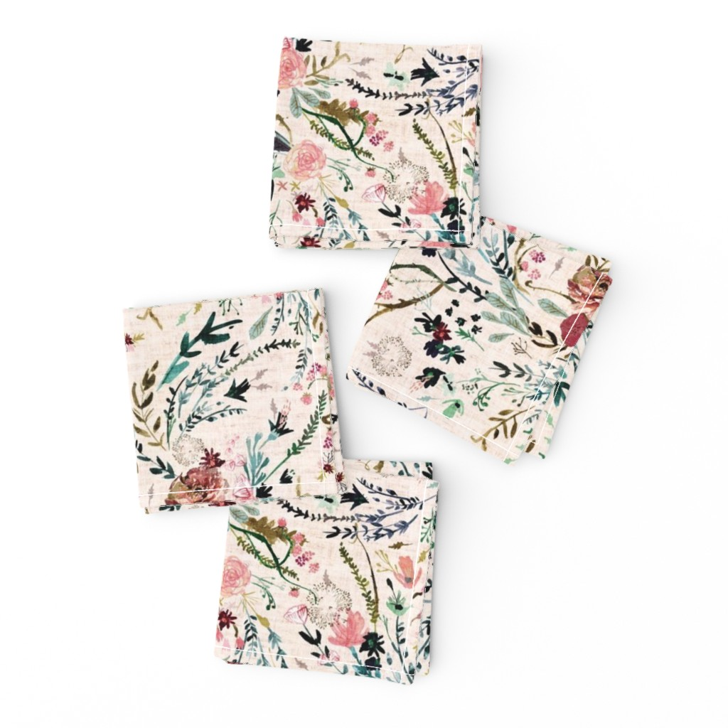 Frizzle Cocktail Napkins featuring Fable Floral (blush) MED by nouveau_bohemian
