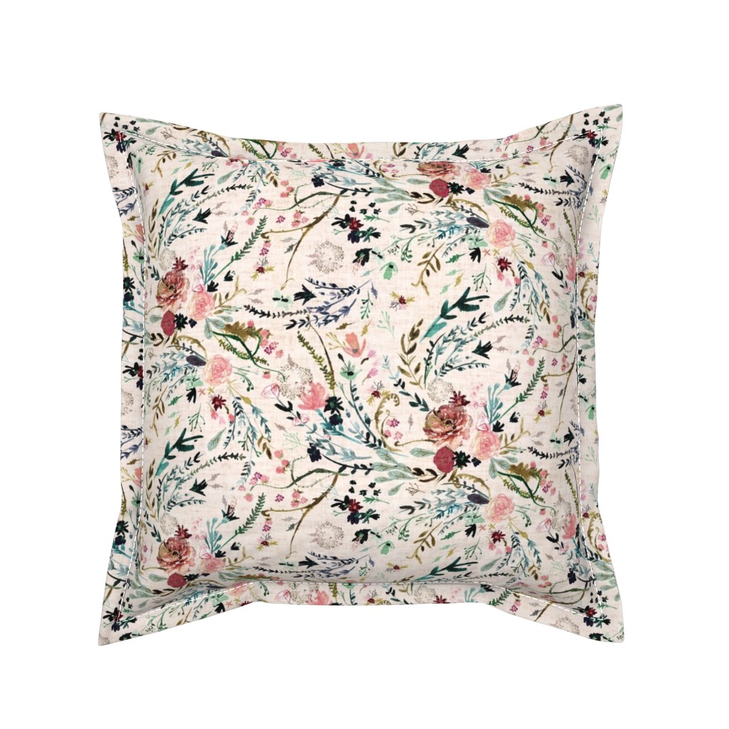 Serama Throw Pillow featuring Fable Floral (blush) MED by nouveau_bohemian