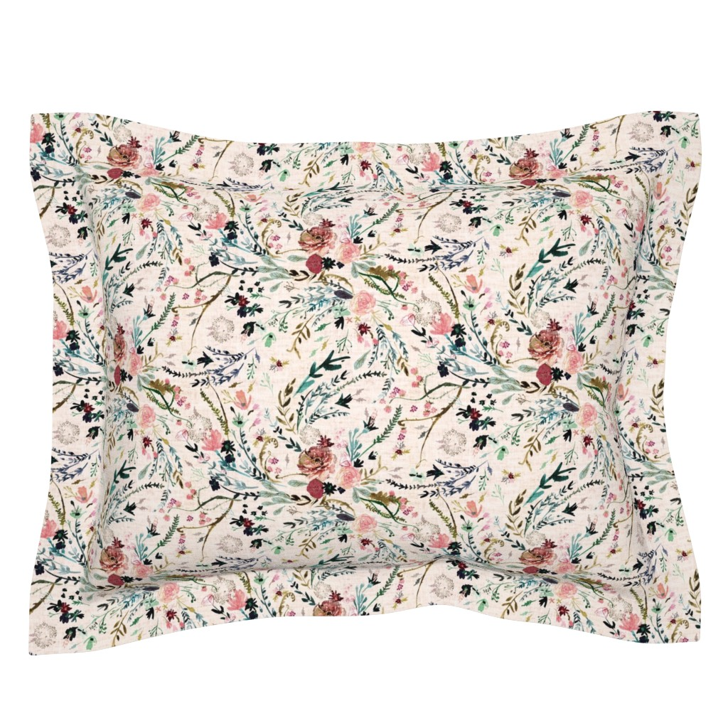 Sebright Pillow Sham featuring Fable Floral (blush) MED by nouveau_bohemian