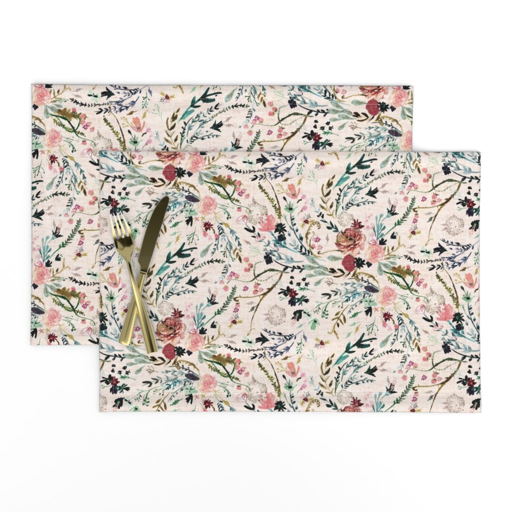 Lamona Cloth Placemats featuring Fable Floral (blush) MED by nouveau_bohemian