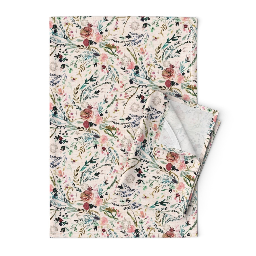 Orpington Tea Towels featuring Fable Floral (blush) MED by nouveau_bohemian