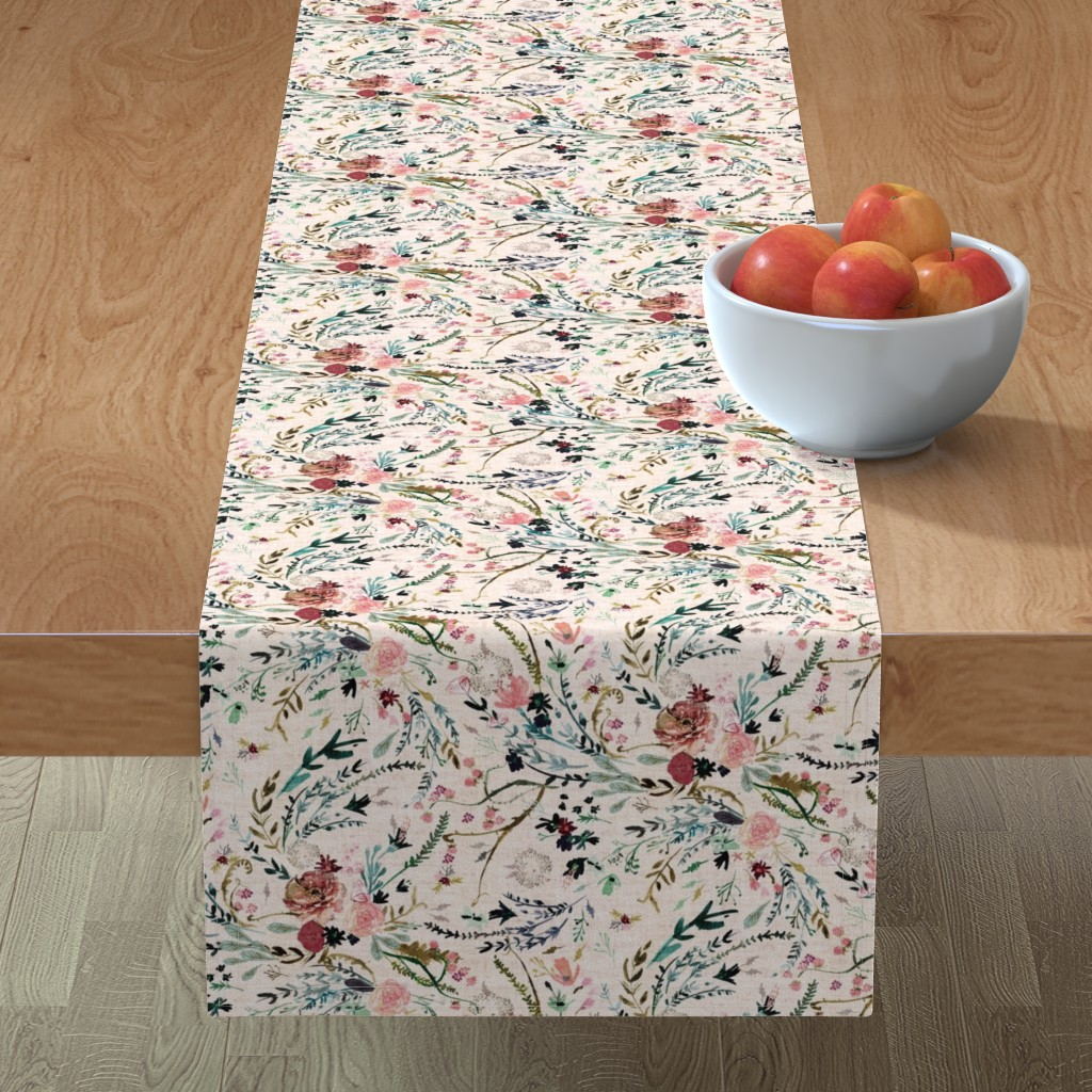 Minorca Table Runner featuring Fable Floral (blush) MED by nouveau_bohemian
