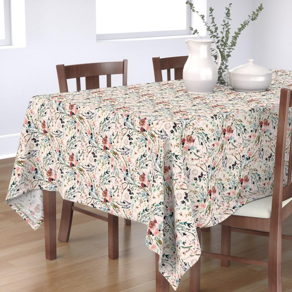 Bantam Rectangular Tablecloth featuring Fable Floral (blush) MED by nouveau_bohemian