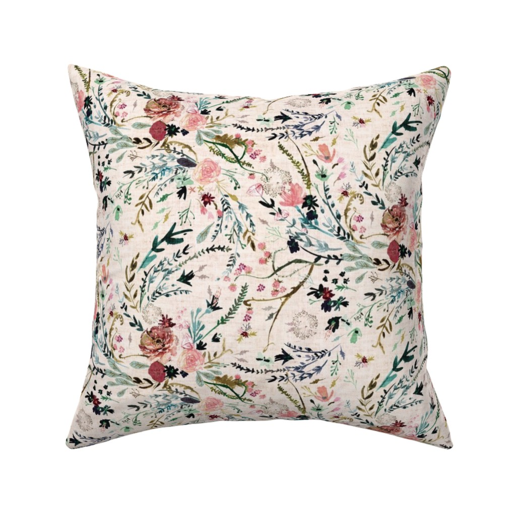 Catalan Throw Pillow featuring Fable Floral (blush) MED by nouveau_bohemian