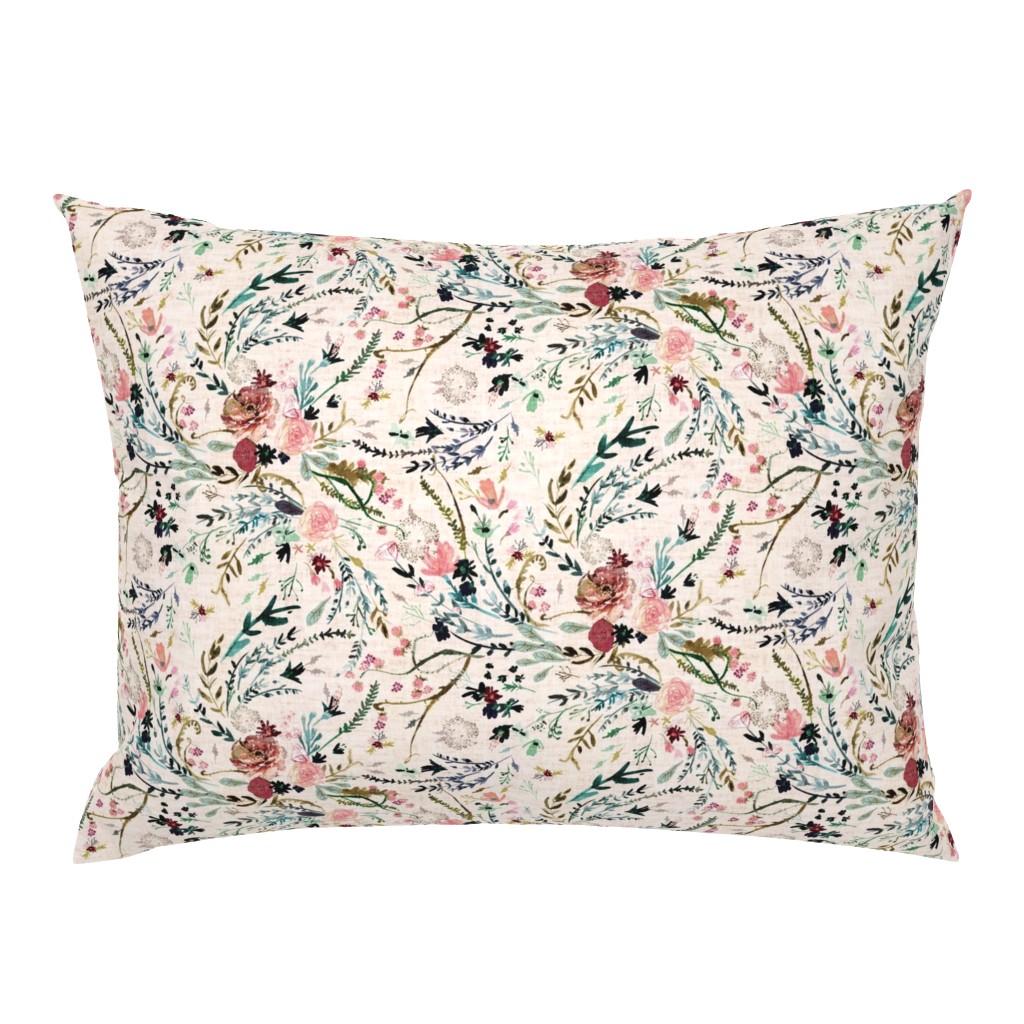 Campine Pillow Sham featuring Fable Floral (blush) MED by nouveau_bohemian