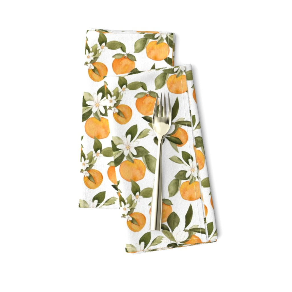 Amarela Dinner Napkins featuring Orange Blossom by mintpeony