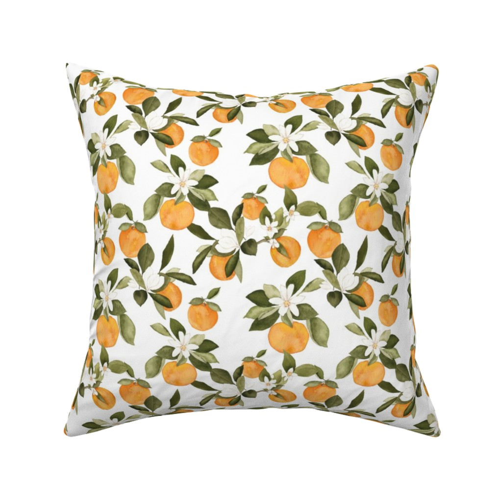 Catalan Throw Pillow featuring Orange Blossom by mintpeony