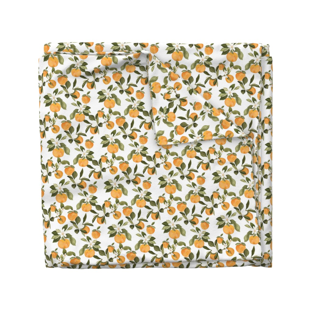 Wyandotte Duvet Cover featuring Orange Blossom by mintpeony