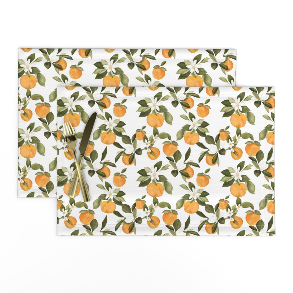 Lamona Cloth Placemats featuring Orange Blossom by mintpeony