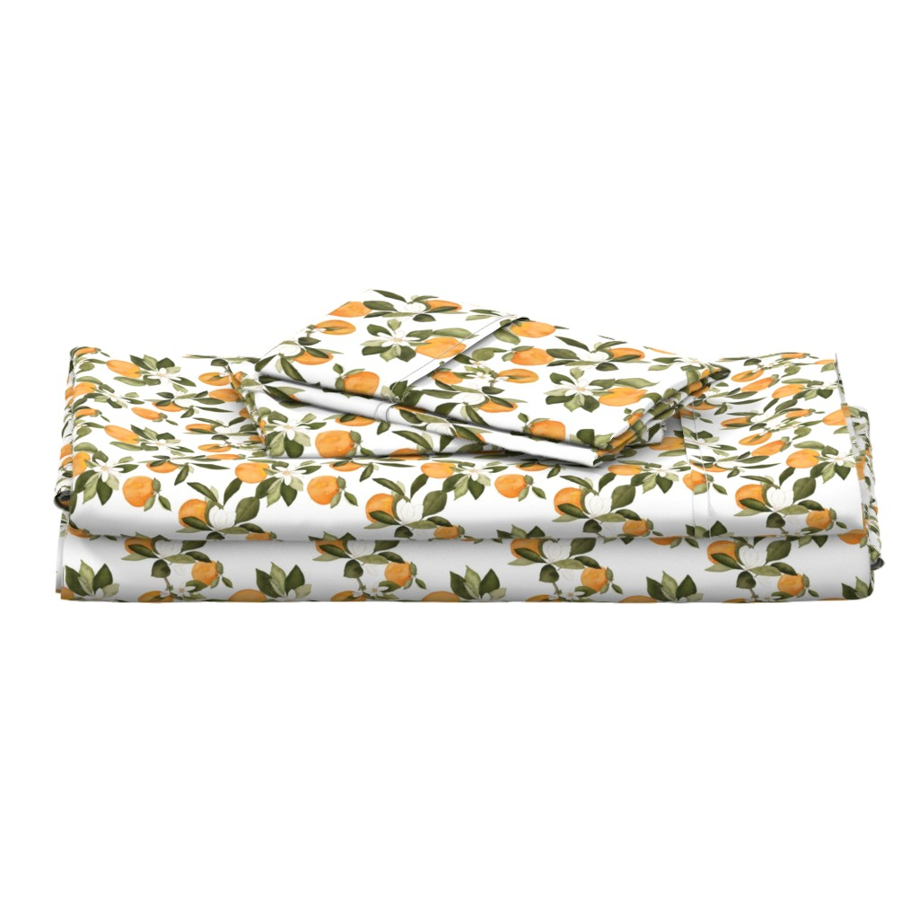 Langshan Full Bed Set featuring Orange Blossom by mintpeony